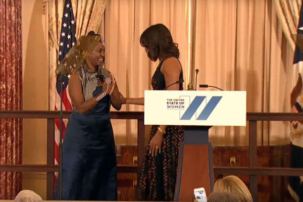 Ciiru Waithaka Waweru with First Lady Michelle Obama