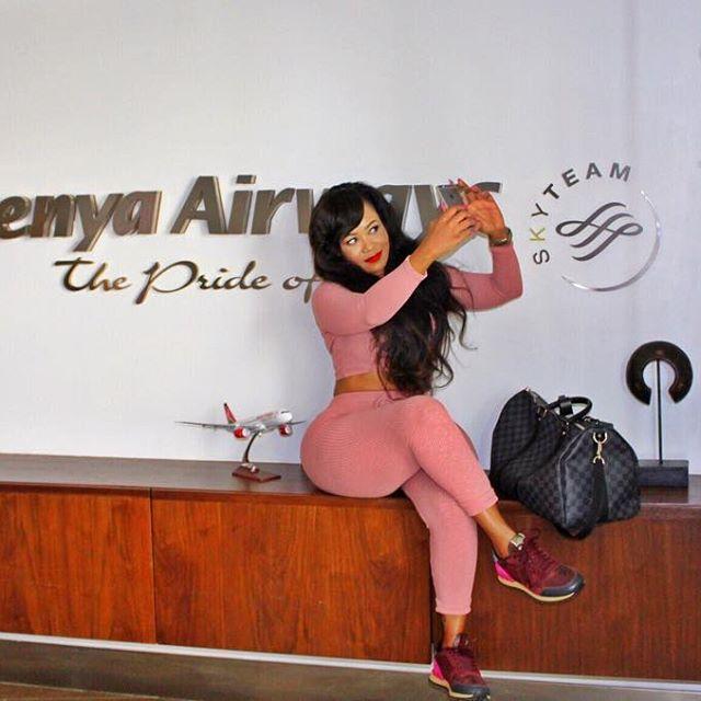Vera Sidika at the Kenya Airways' lounge | Instagram