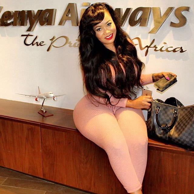 Vera Sidika taking a picture at Kenya Airways offices | Instagram
