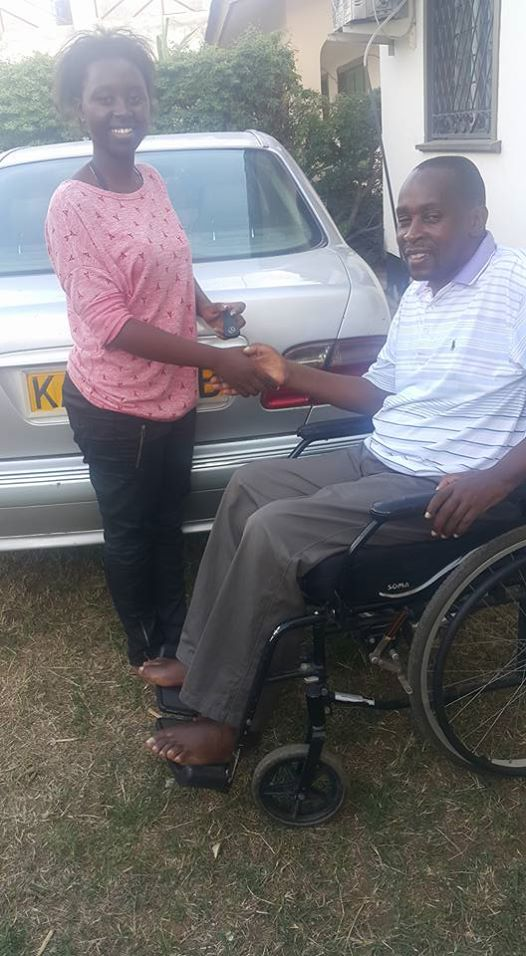 Richard Chacha giving his daughter keys to her new ride Mercedes Benz E200   Facebook