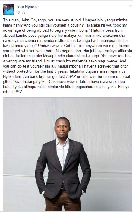 Tom Nyaoke's post ecposing John Onyango(his cousin)