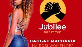 Photos of the very hot Haggah Macharia the Jubilee Party Nairobi Women Rep aspirant using her appeal to get all the votes in the County