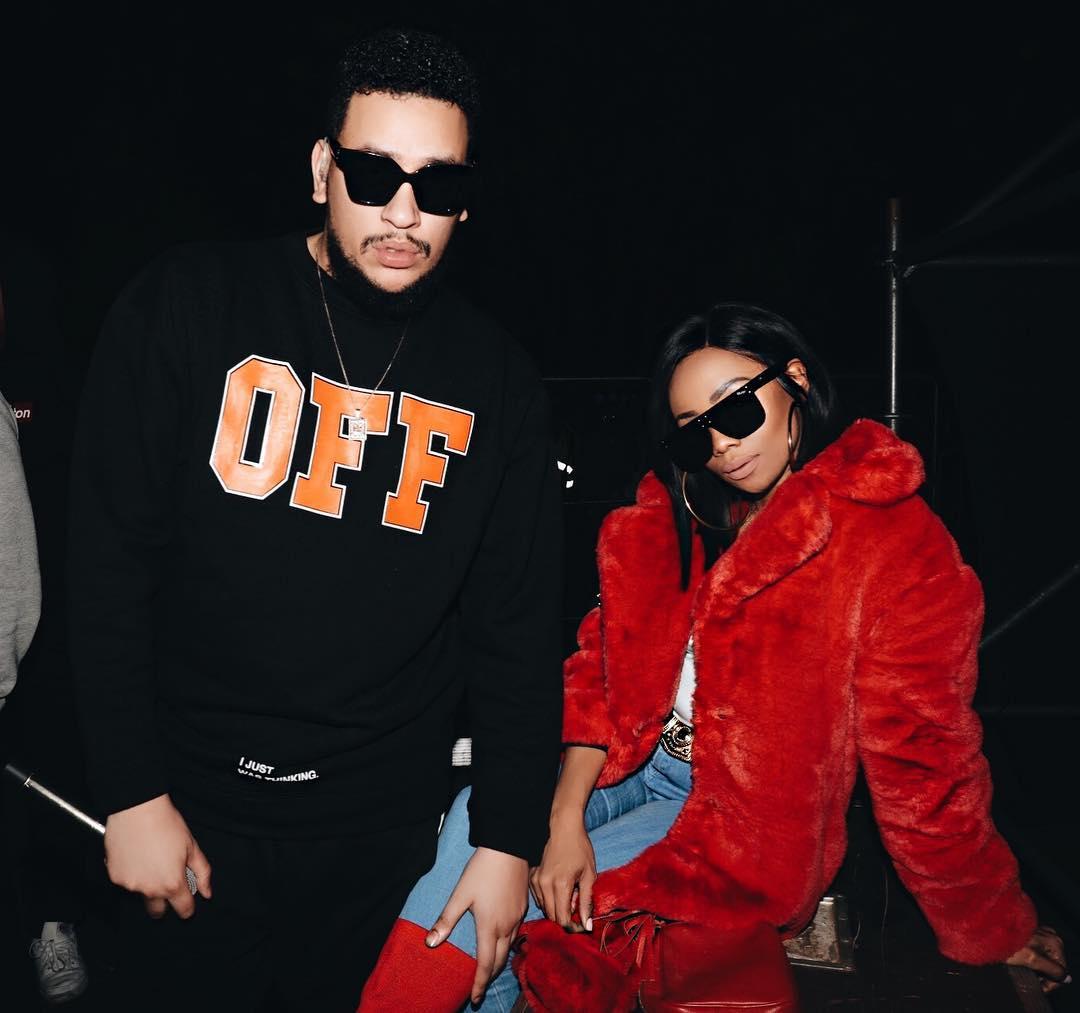 AKA with his girlfriend Bonang Matheba on an event