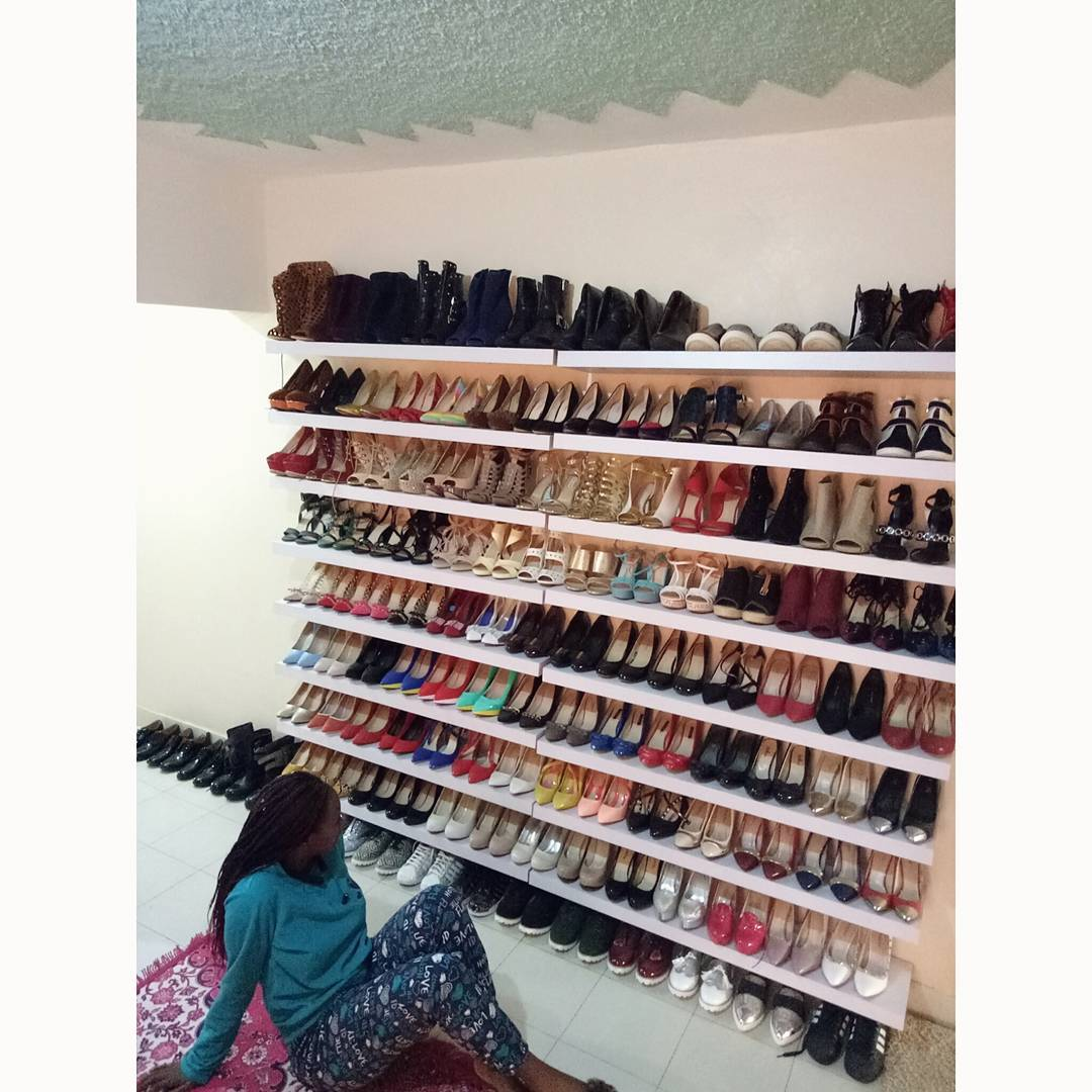 Ms Emma Brenda Wanjiru's shoe closet. Photo credit: Instagram/brenemmy