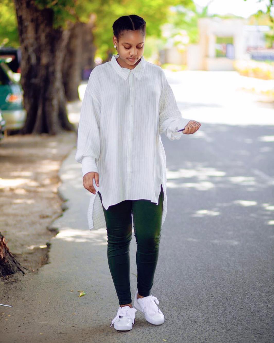 Jokate Mwegelo rocking Puma Women's Basketball Patent Lace Up Sneakers. photo credit: Instagram/jokatemwegelo