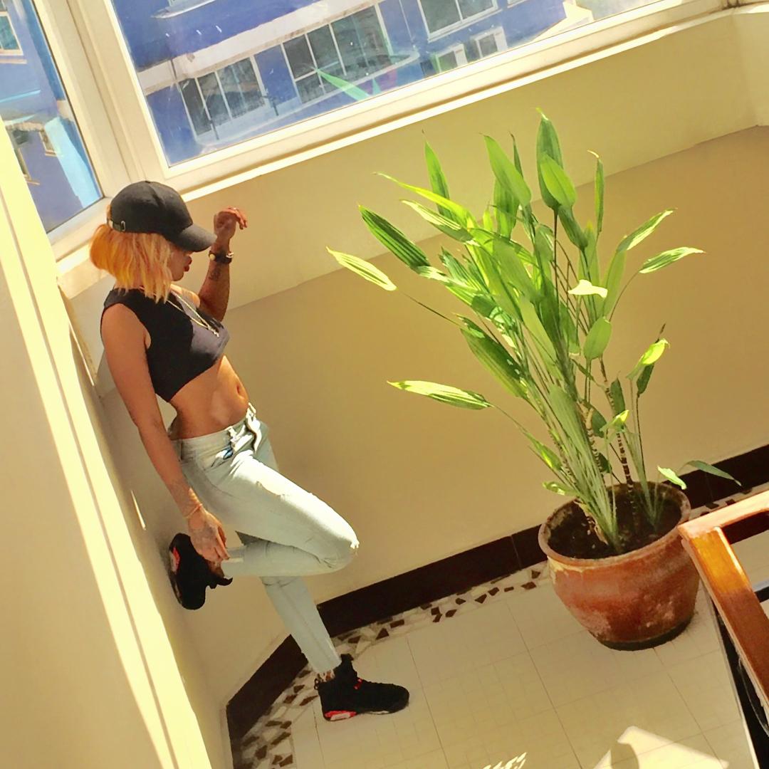 "Amber Lulu rocking the Jordan 6 retro ""infrared"". photo credit: Instagram/amber___lulu as taken by Prezzo"