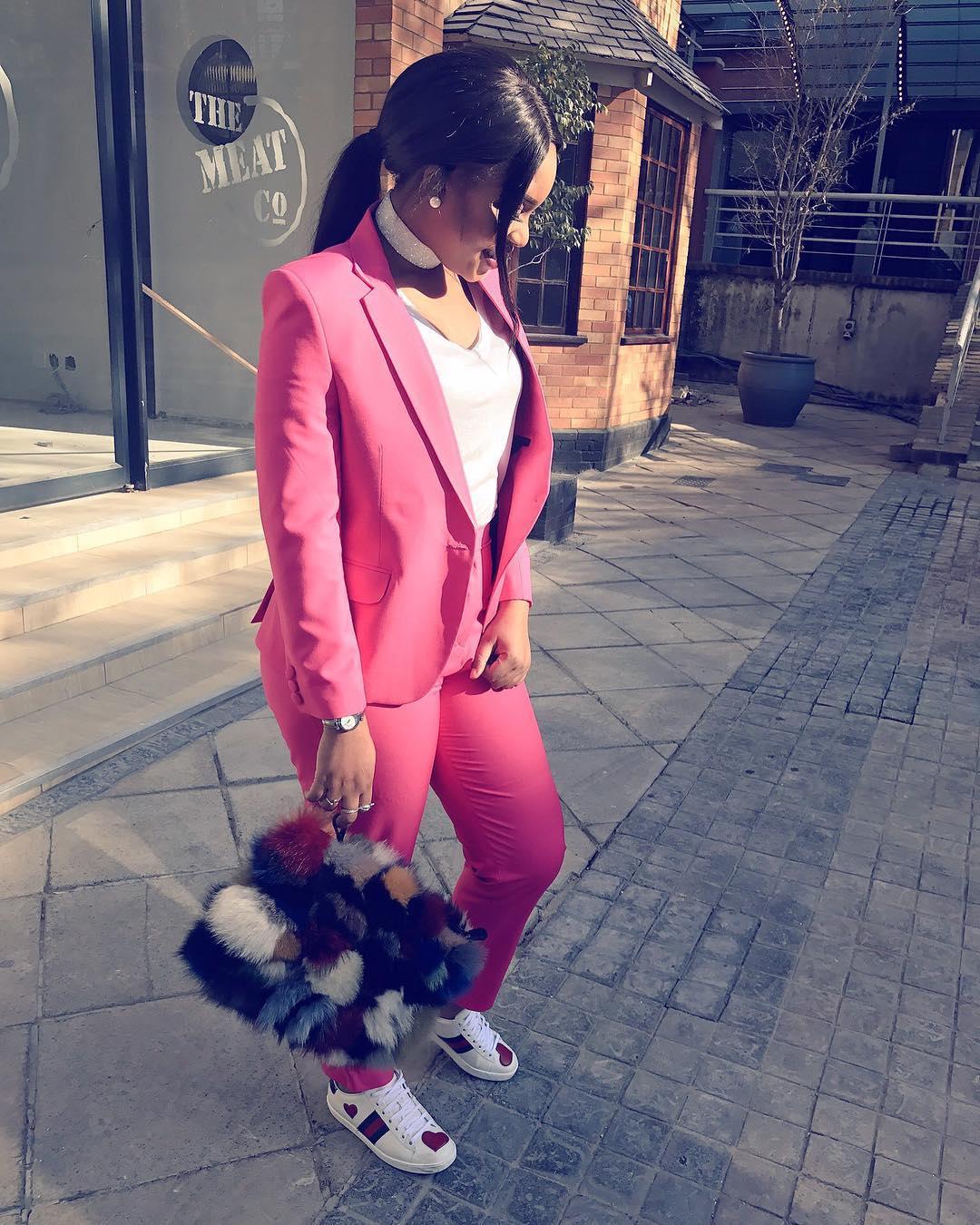 Jokate Mwegelo wearing Gucci sneakers. photo credit: Trevor Zondi
