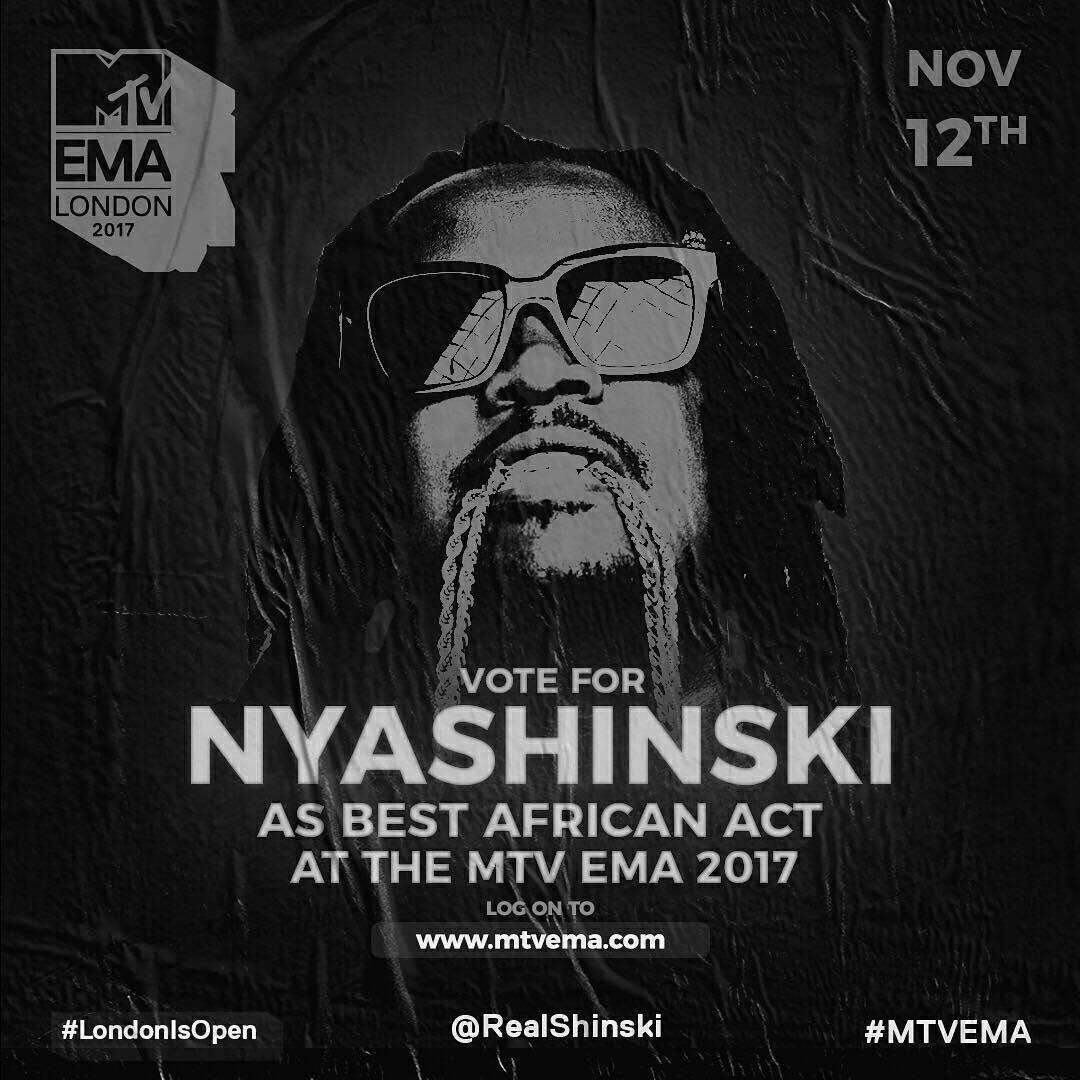 Nyashinski EMA MTV 2017 nomination
