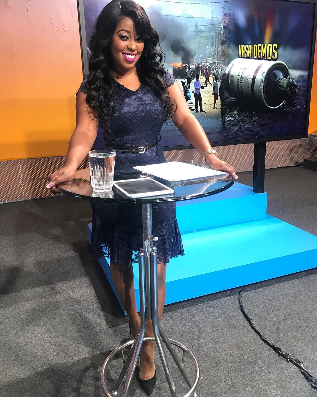 Lillian Muli in Citizen TV's studio. photo credit: Instagram/lilmuli