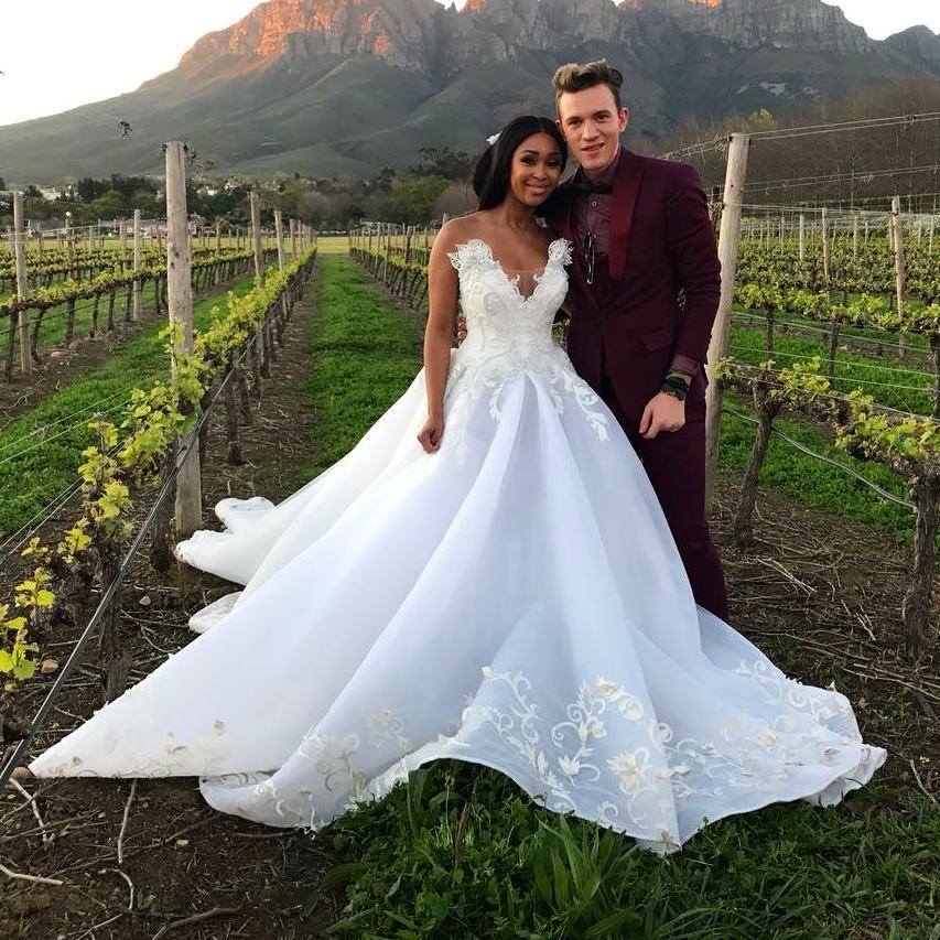 Minnie Dlamini with fashion designer, Gert-Johan Coetzee. photo credit: Instagram/gertjohancoetzee