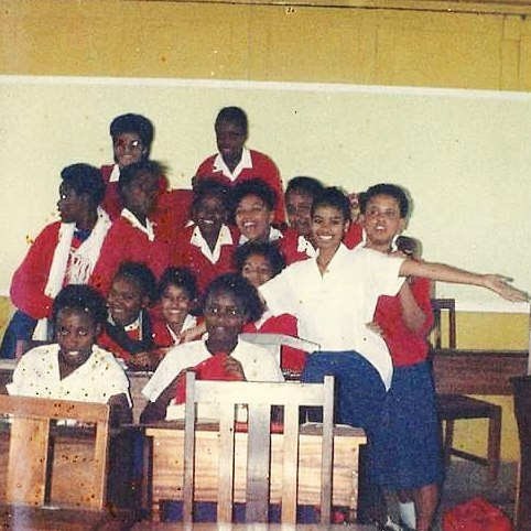 Julie Gichuru(without a sweater) back in teh day when she was sitting for her KCPE exams. photo credit: Instagram/juliegichuru