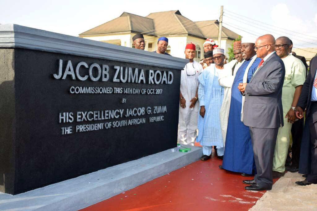 Jacob Zuma road unveiled by Imo State governor Owelle Okorocha in Imo State, Nigeria. photo credit: Twitter/PresidencyZA