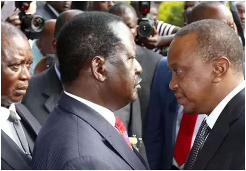 Raila Odinga and Uhuru Kenyatta.meeting