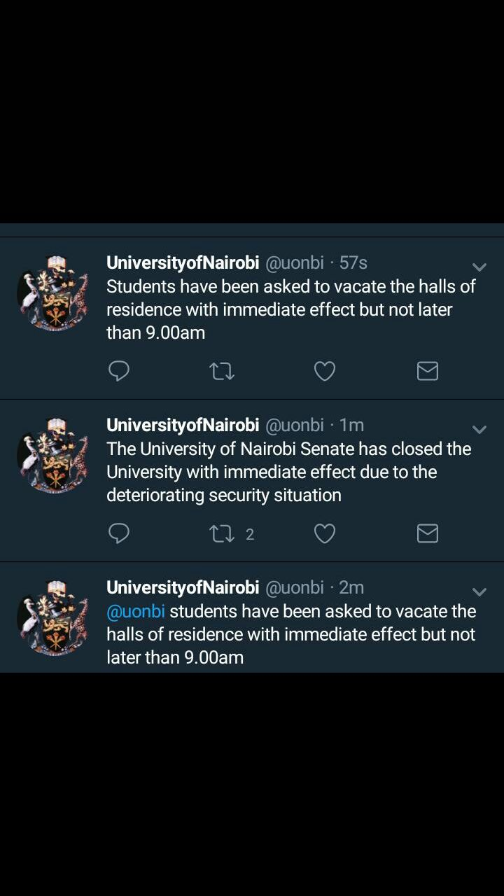 nairobi university tweet. photo credit: twitter