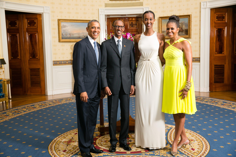Photo of Barrack Obama, Paul Kagame, Angie Kagame, Michelle Obama
