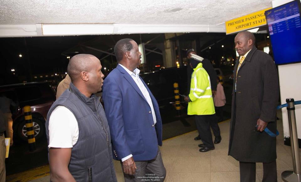 Raila arrives at JKIA