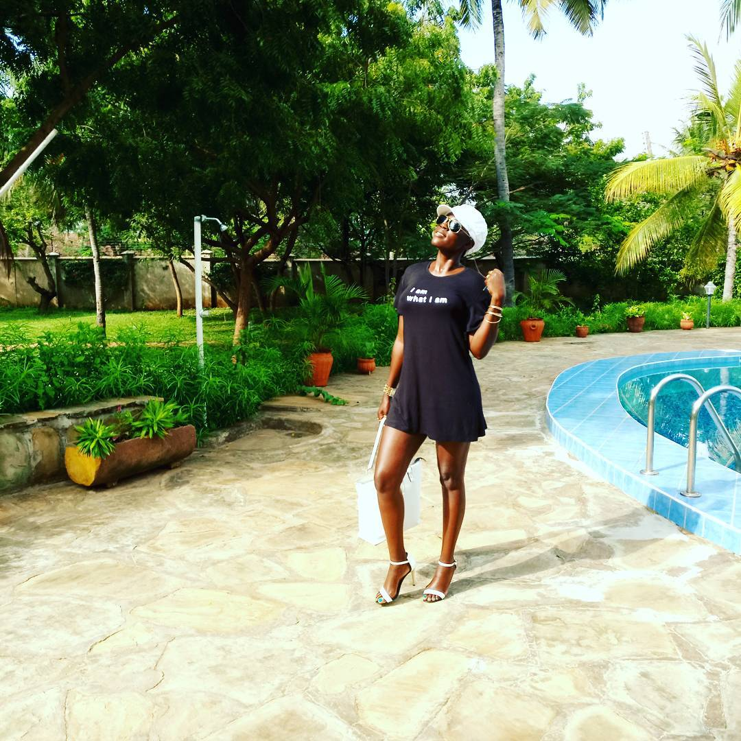 Akothee at her compound in Mombasa.