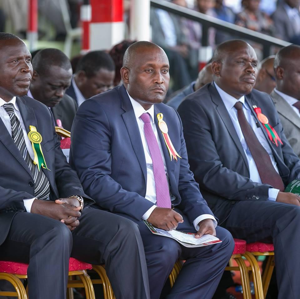 Nyeri governor, Wahome Gakuru(middle) on a recent event. photo credit: Facebook/Uhuru Kenyatta
