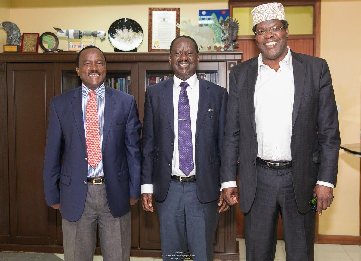 Kalonzo Musyoka, Raila Odinga and Miguna Miguna. photo credit: Twitter/Miguna Miguna