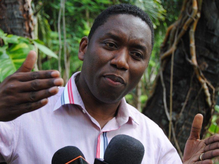 Dan Kazungu speaking to the media