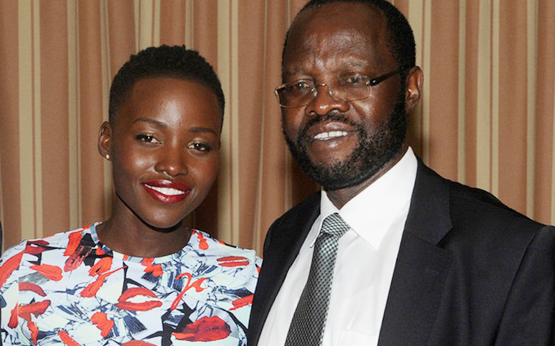 Lupita Nyong;o with her father Anyang'