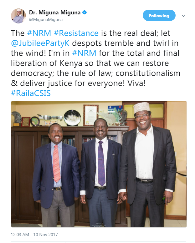Miguna Miguna's tweet about joining NRM with Raila Odinga and kalonzo Musyoka