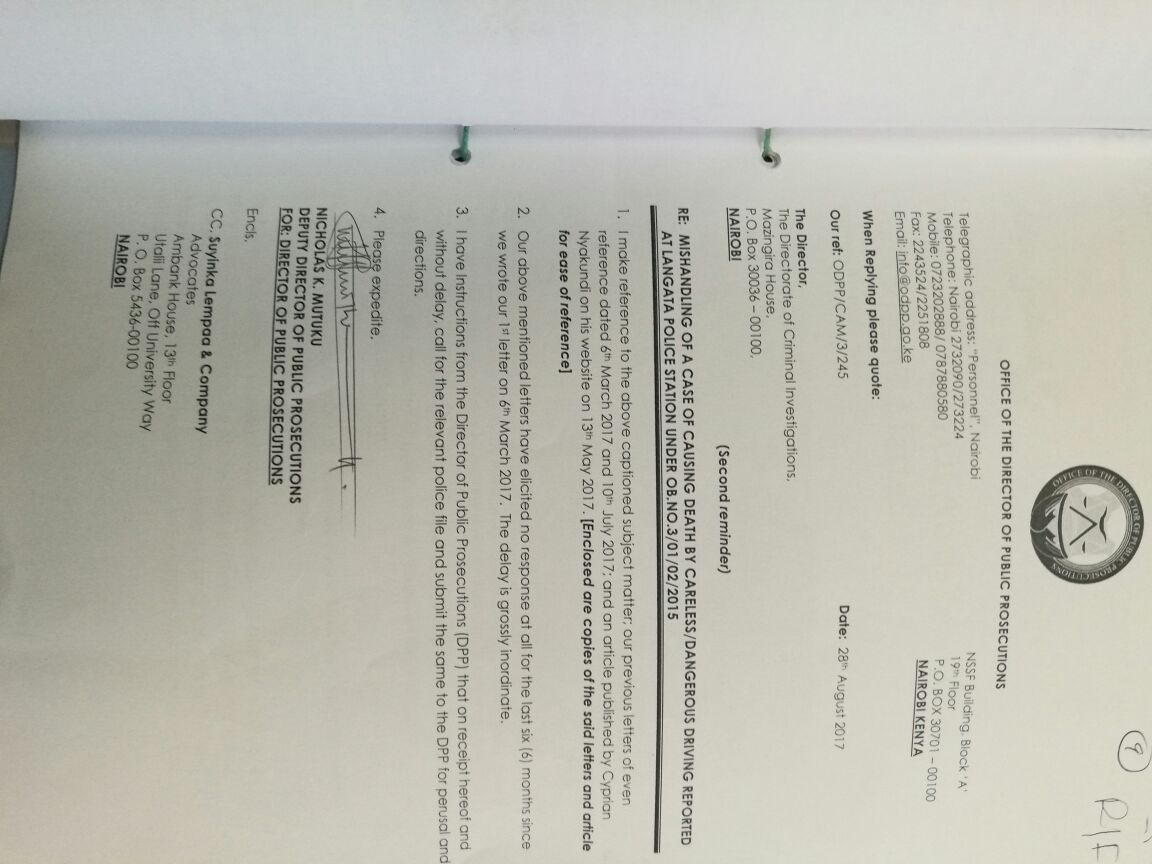 Sylvia Mulinge arrest warrant