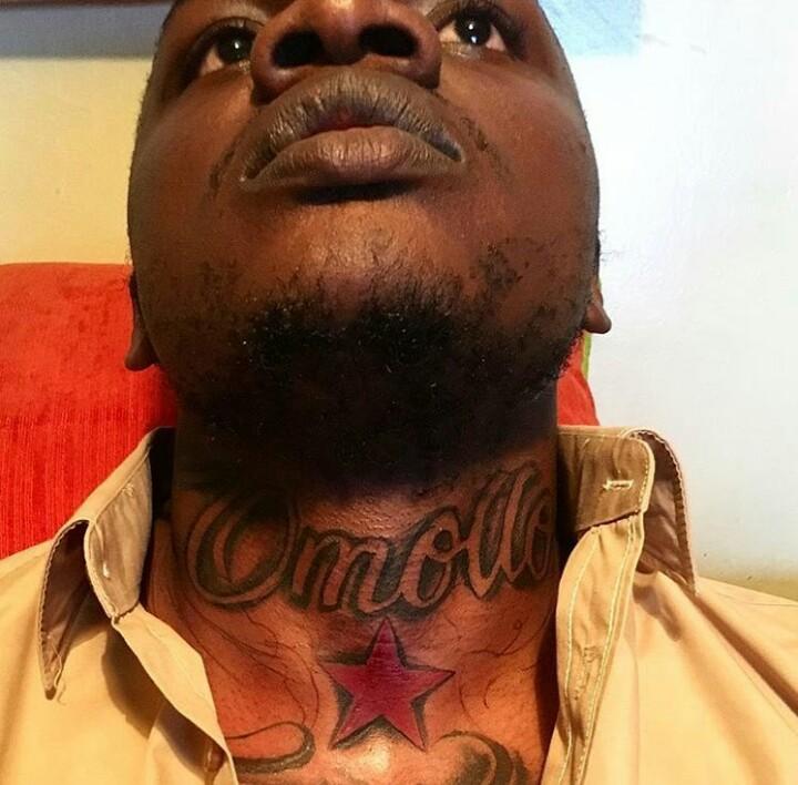 Khaligraph Jones showing off his new 'Omollo' tattoo. photo credit: courtesy