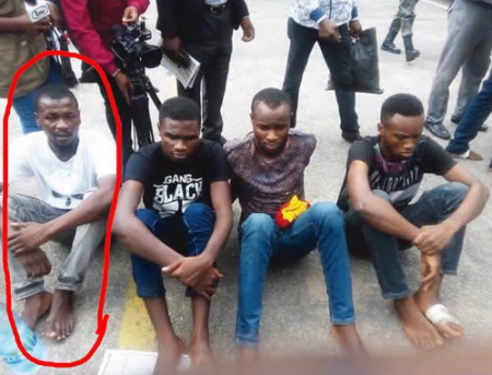 Joel Kantiok, Burna Boy's road manager and three other suspects Balogun Ademola, Obina Igwe, and Tunmise Omotore arrested in connection with 2Kays' robbery. Photo/Premium Times Nigeria