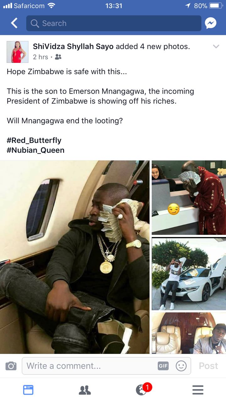 This photo grid Michael Sean Mnangagwa's expensive lifestyle. He flies in private jets and he also owns expensive cars. Photo/Facebook