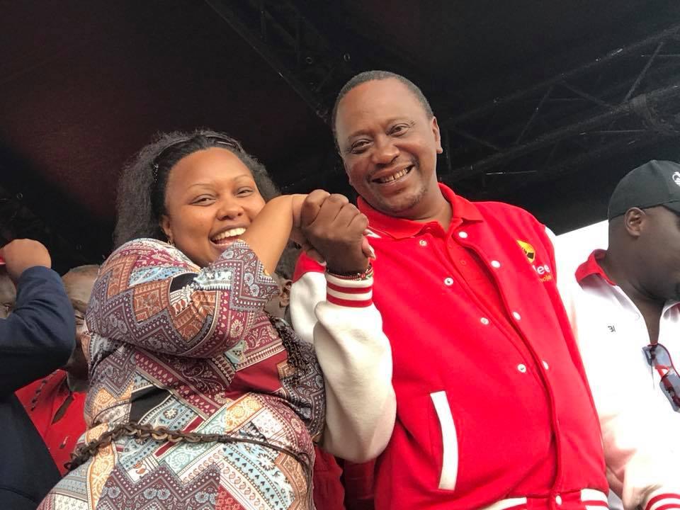 Millicent Omanga with Uhuru Kenyatta