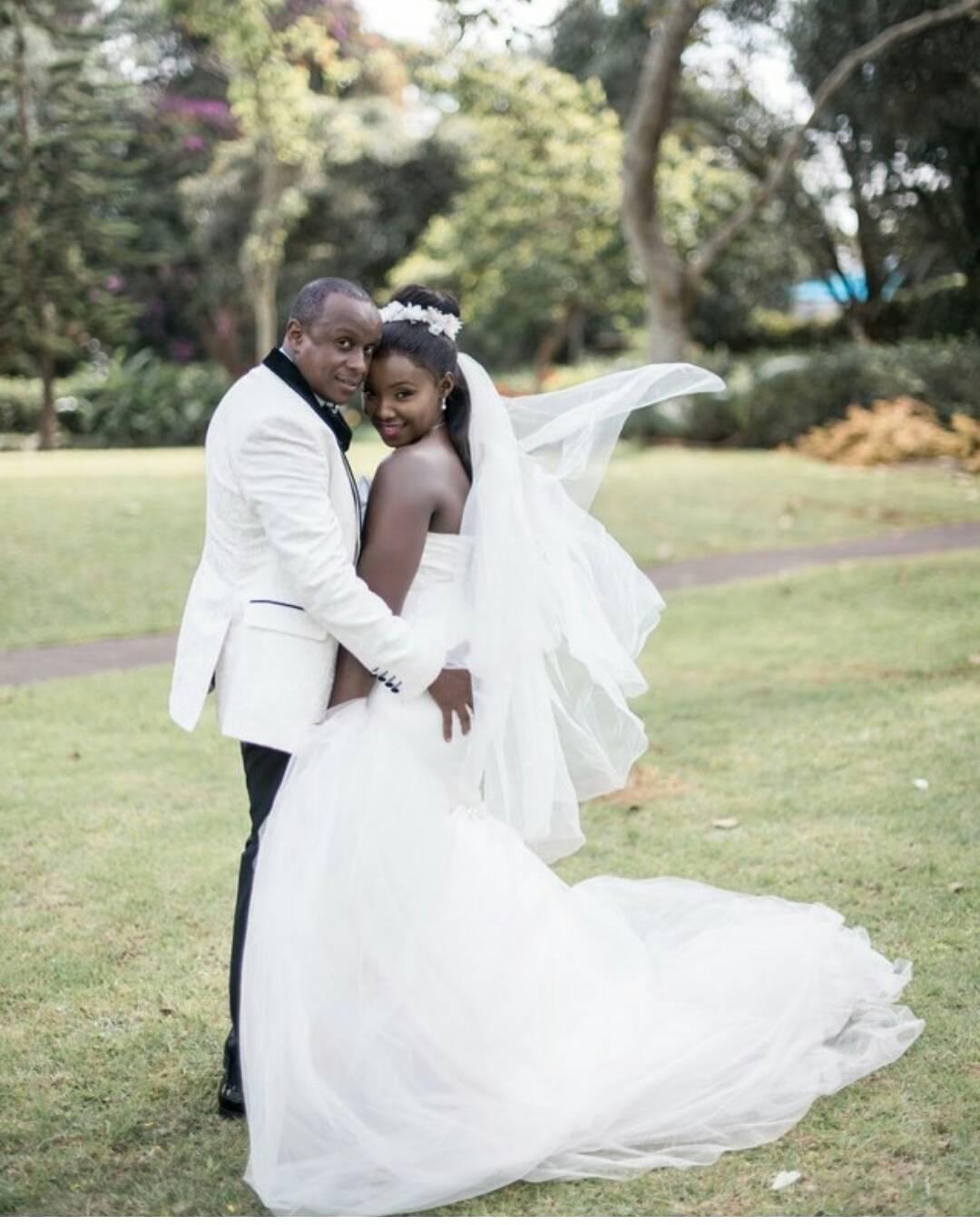 Catherine Kamau and her husband Phil Karanja during their wedding. Photo/Instagram