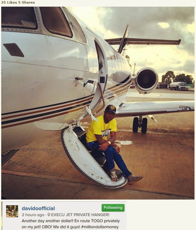 Davido posting with his private jet for the very first time on teh gram
