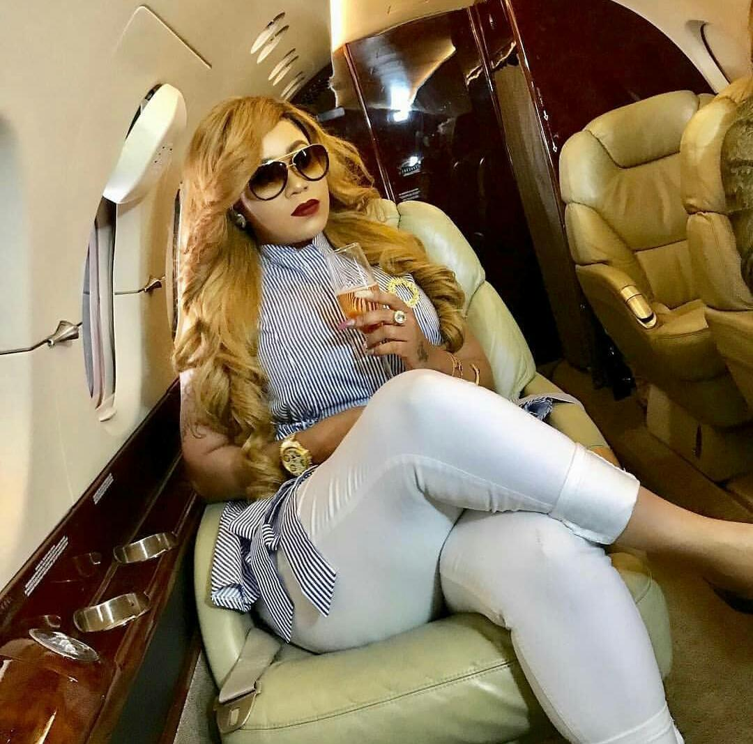 Vera Sidika taking a photo inside the jet on the left side of the seat. photo credit: courtesy