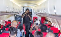 Khaligraph Jones pulls a stunt onboard a plane and Kenyans can't handle it
