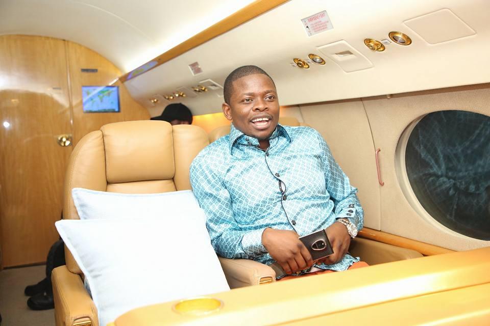 Prophet Shepherd Bushiri aka Major 1 on his private jet heading to Uganda. Photo/Facebook