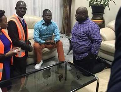 Pastor Franklin Mondo of Uganda (second left) and his senior leadership address Prophet Shepherd Bushiri while kneeling. Photo/Facebook