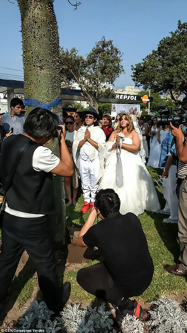 Photographers take pictures as one of the brides is married to a tree. Photo/Daily Mail