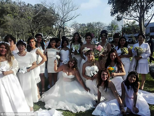 The brides who married trees in Lima, Peru. Photo/Daily Mail