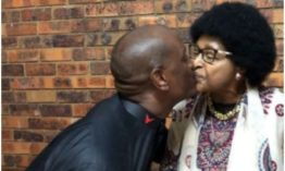 Fast & Furious actor Tyrese smears a kiss on Winnie Mandela's lips during their meeting in South Africa (Photos)