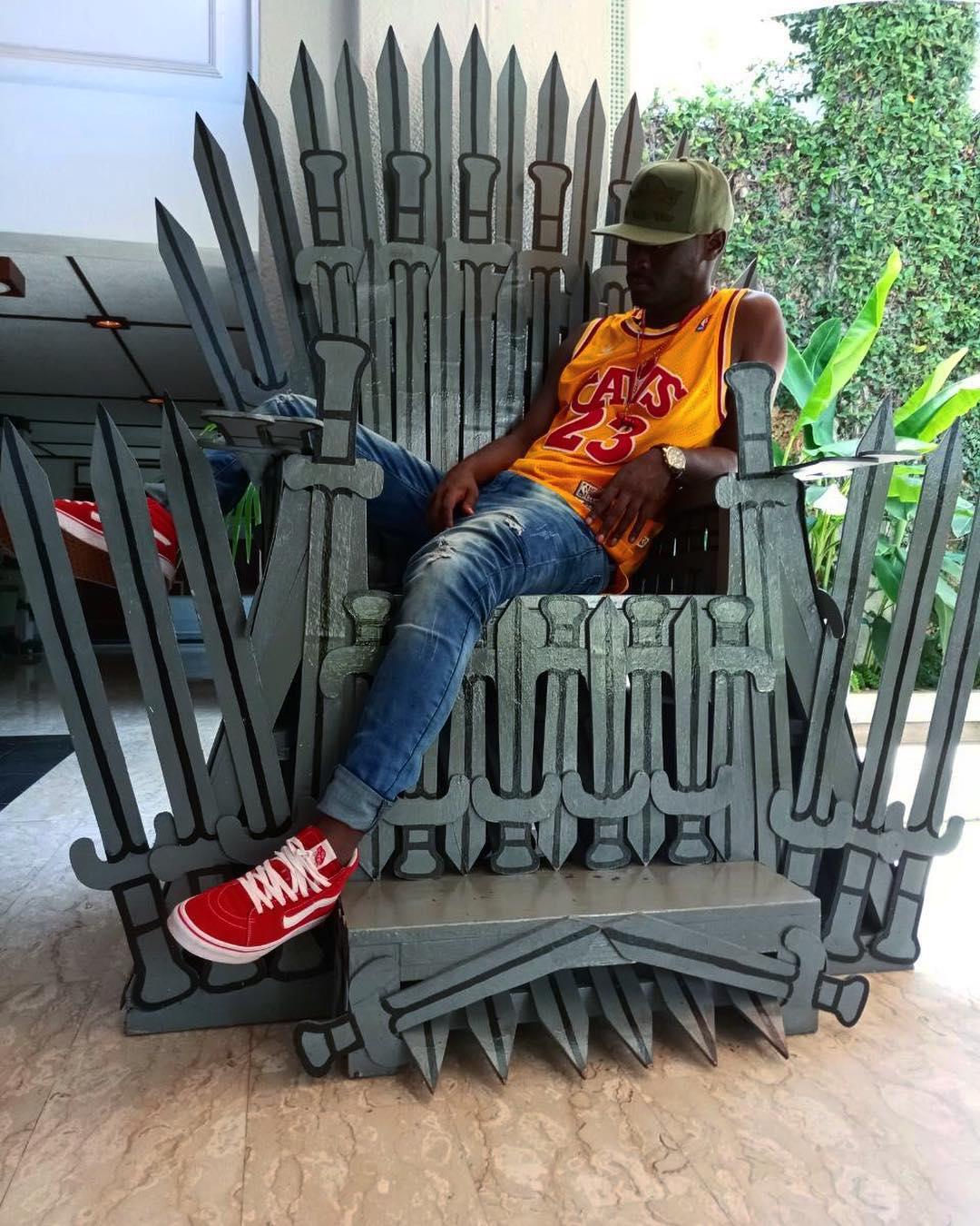 King Kaka sitting on the throne. photo credit: Instagram/thekingkaka