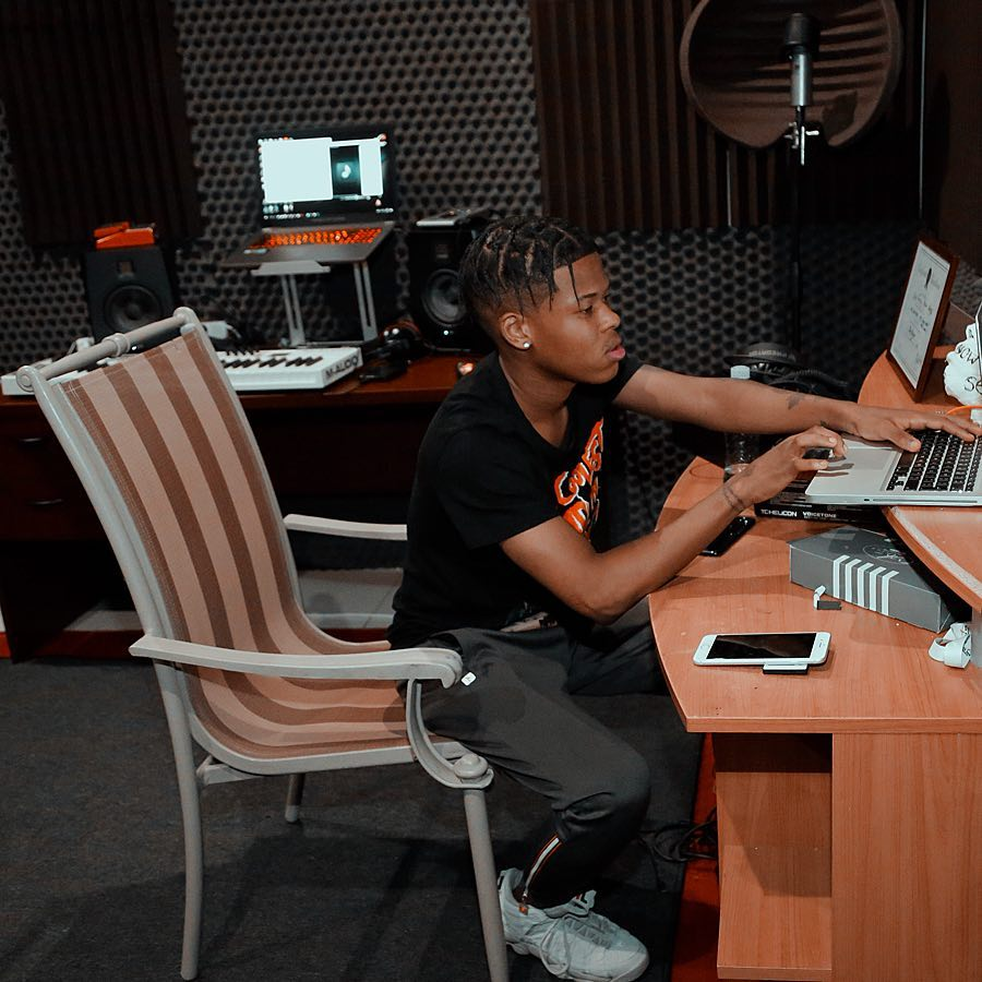Nasty C's working on the stu while introducing his new hairdo. photo credit: Instagram/nasty_csa