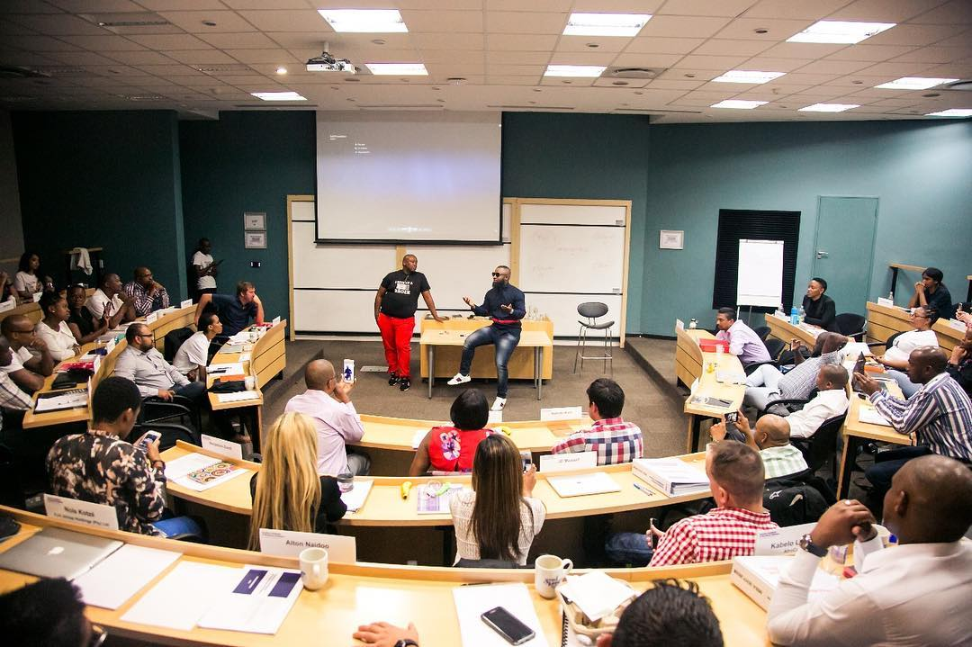 Cassper Nyovest giving out a lecture at the Gordons Institute of Business Science. photo credit: Instagram/casspernyovest