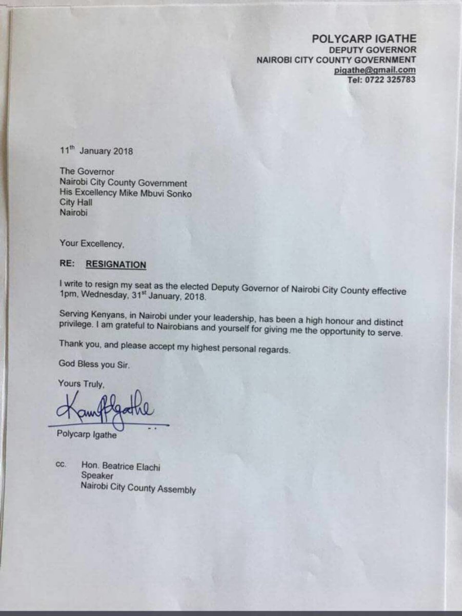 Polycarp Igathe's resignation letter that was dated 11th January 2018. photo credit: Twitter