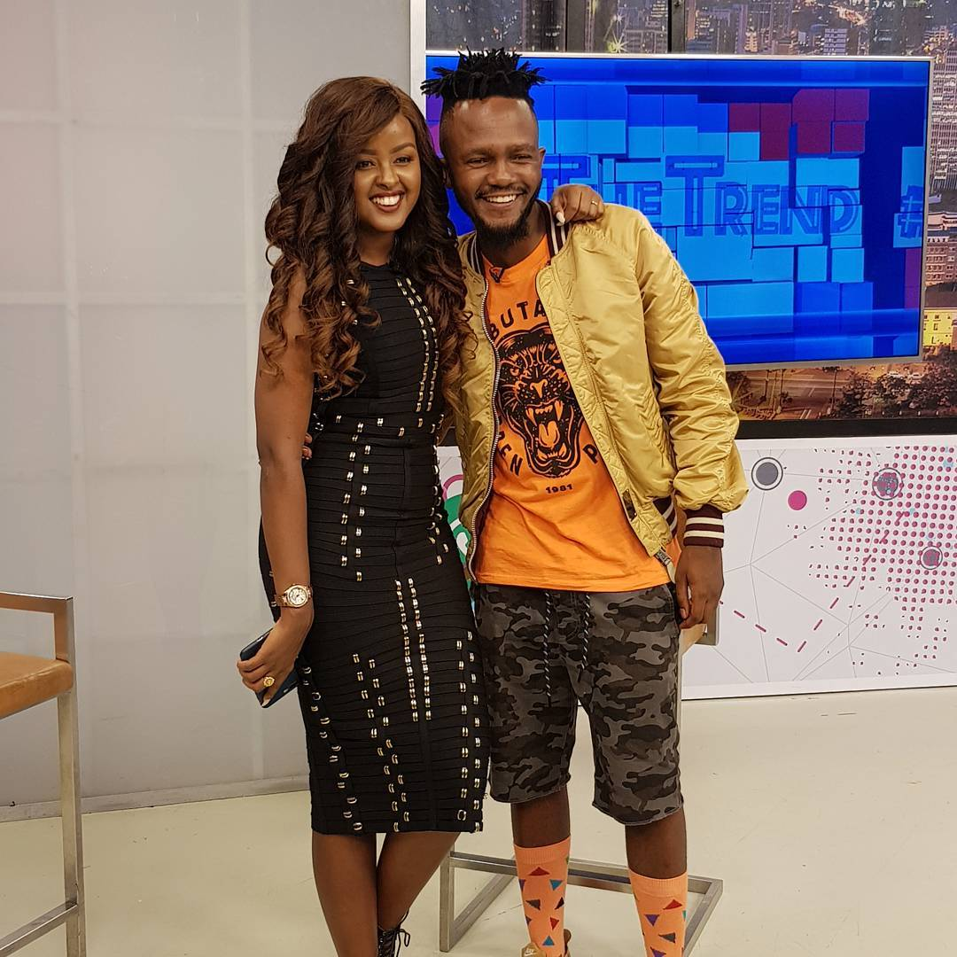 Kwesta with Amina Abdi Rabar on the Trend while on his media tour in Kenya. Instagram/kwestadakar