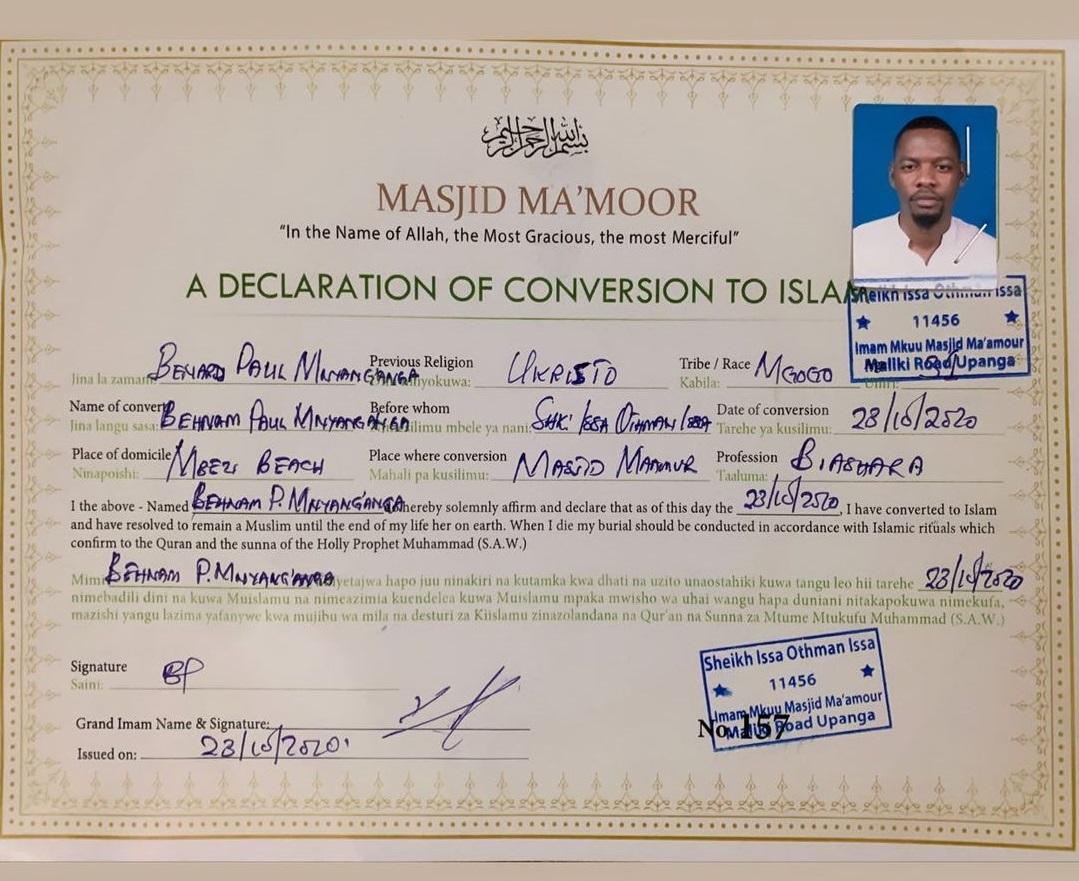 Ben Pol's official declaration to Islam certificate. Photo credit: Instagram/iambenpol